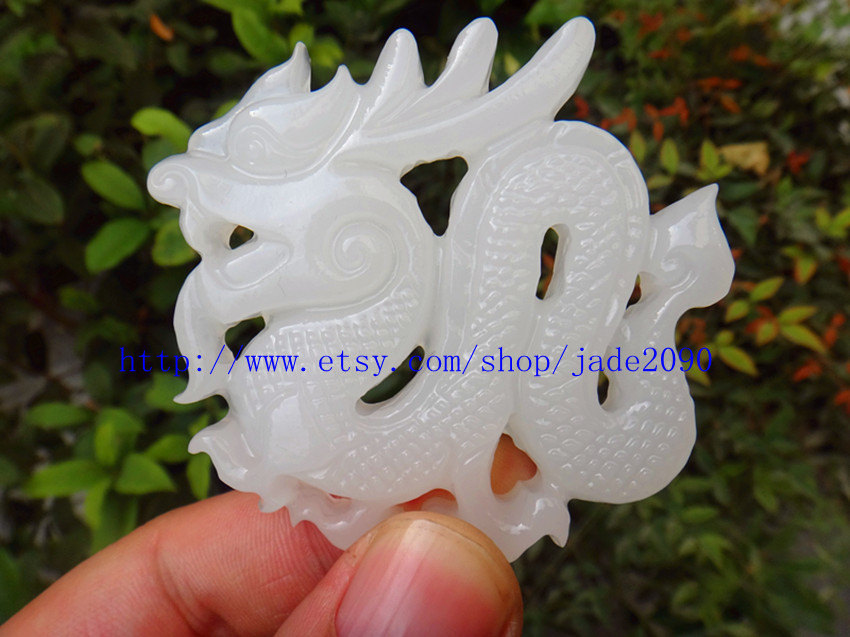 Primary image for Free Shipping - Natural white jadeite jade Dragon Carved Dragon  charm jade Pend