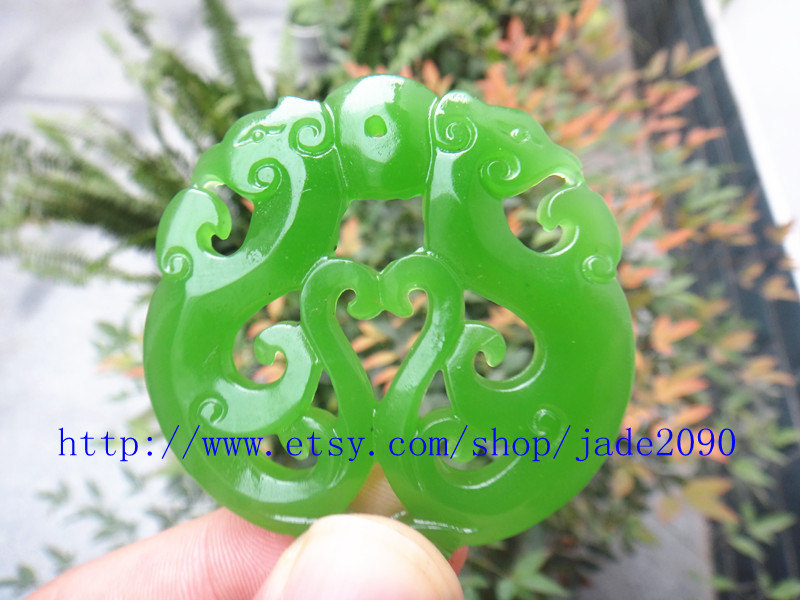 Primary image for Free Shipping - handmade Natural Green jadeite jade carved two dragon Round shap