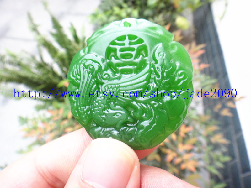 Primary image for Free Shipping - Hand carved green jadeite jade  Hand- carved  Natural green Phoe