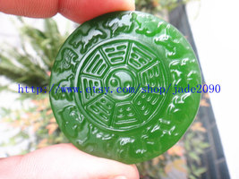 Free Shipping - good luck Hand-carved Natural Green jadeite jade Blessing Health - $25.99