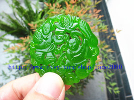 Free Shipping - chinese Amulet pendant ,  good luck Natural green jade carved pr - $25.99