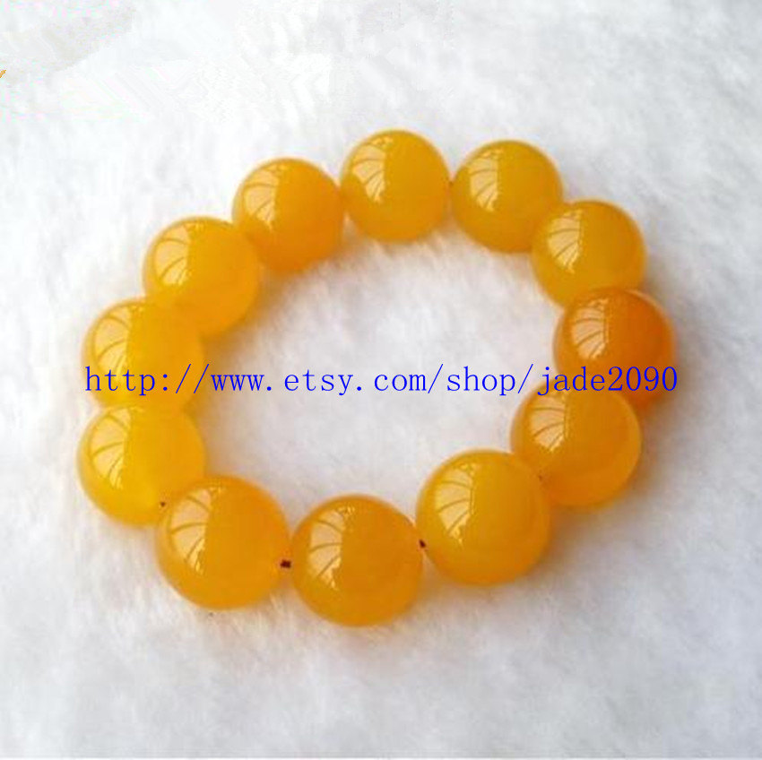 Primary image for Free Shipping - Real Natural yellow jadeite jade Meditation yoga Prayer Beads ch