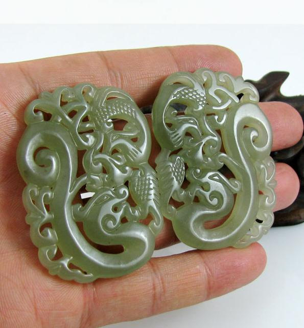Primary image for Free Shipping - Amulet auspicious Natural  Green jade jadeite carved dragon and