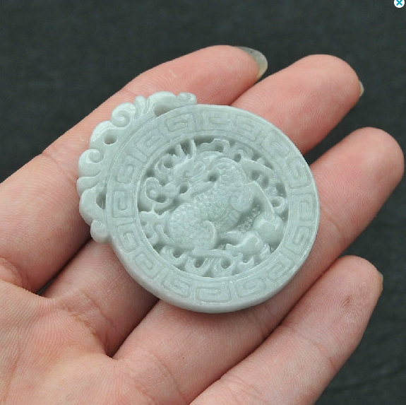 Primary image for Free Shipping -  Couple jade pendants , Hand- carved Natural Snow white jadeite