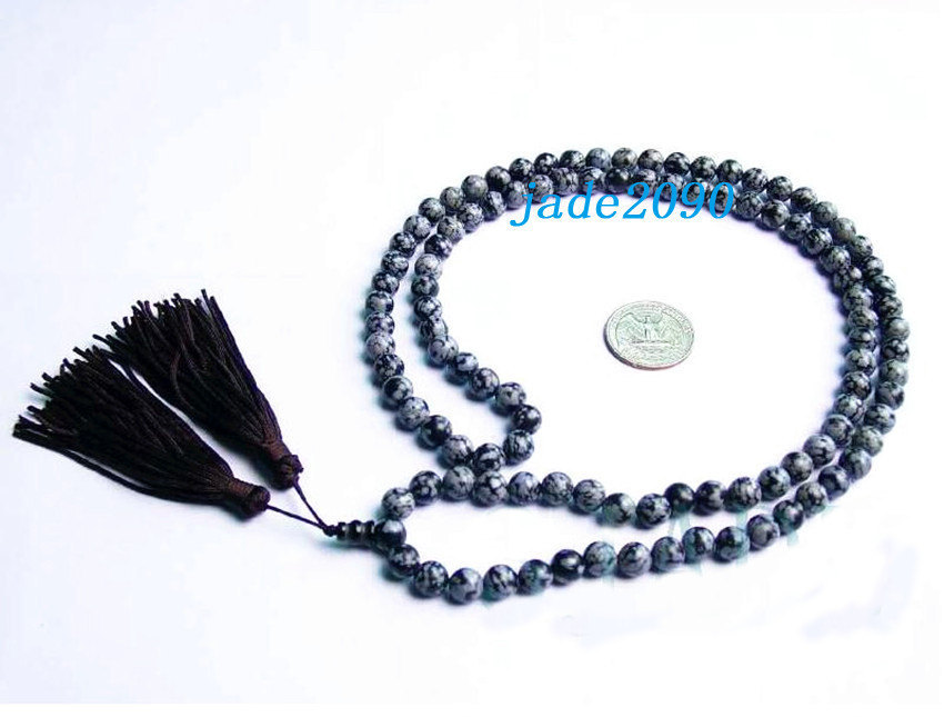 Primary image for Free shipping - Tibetan Natural Snowflake Obsidian Meditation Yoga 108 Prayer Be