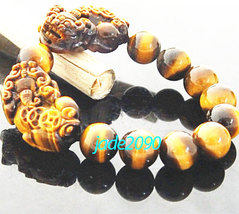 Free shipping - good luck AAA Grade Natural yellow tiger eye stone carved two PI image 2