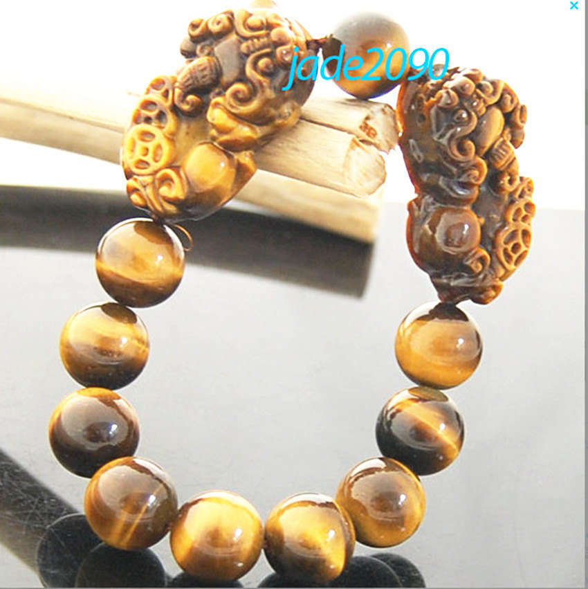 Free shipping - good luck AAA Grade Natural yellow tiger eye stone carved two PI image 4