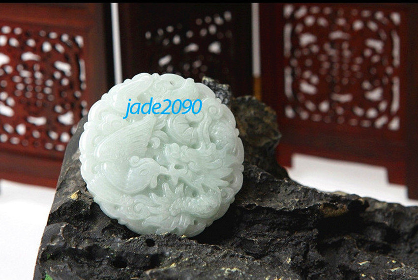 Primary image for Free Shipping - Natural white Dragon and Phoenix charm jadeite Pendant / jade ne
