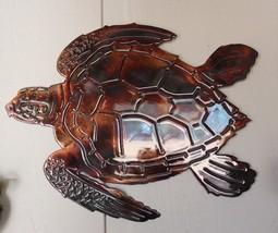 "Aquatic Sea Turtle #2 Metal Decor 14 1/2"" x  11"" Copper/Bronze Plated - $39.98"
