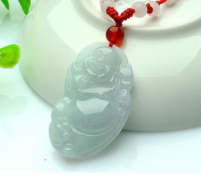 Primary image for FREE SHIPPING Natural WHITE jade Happy /  happiness /  Compassion buddha charm p