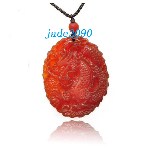 Primary image for Free Shipping - Amulet AAA Grade  good luck Natural Red jade Dragon Natural red