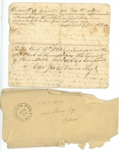 1820 early hand written deed fragment Knowles Orleans MA Plymouth County - $9.99