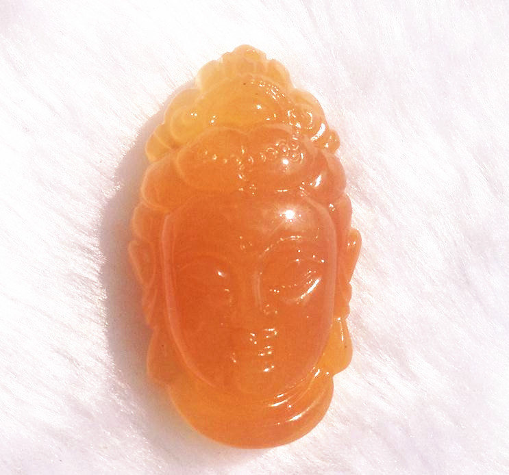 Primary image for FREE SHIPPING Natural yellow  jade Happy buddha /  happiness buddha /  Compassio