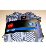 MENS Hane Woven PAJAMA SET 2-pc. Blue Stripes Long Sleeved, Small C34-36 W28-30 - €14,10 EUR