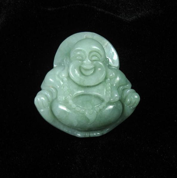 Primary image for FREE SHIPPING Natural green  jade Happy buddha /  happiness buddha /  Compassion
