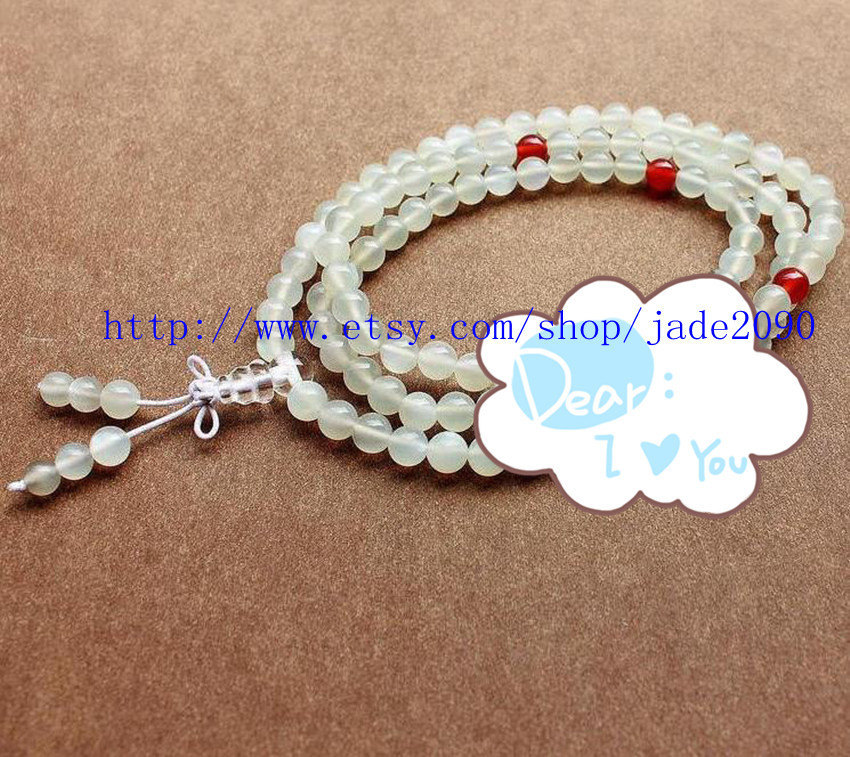Primary image for Free Shipping - 8mm Natural MOONSTONE Prayer Beads Mala meditation yoga 108 bead