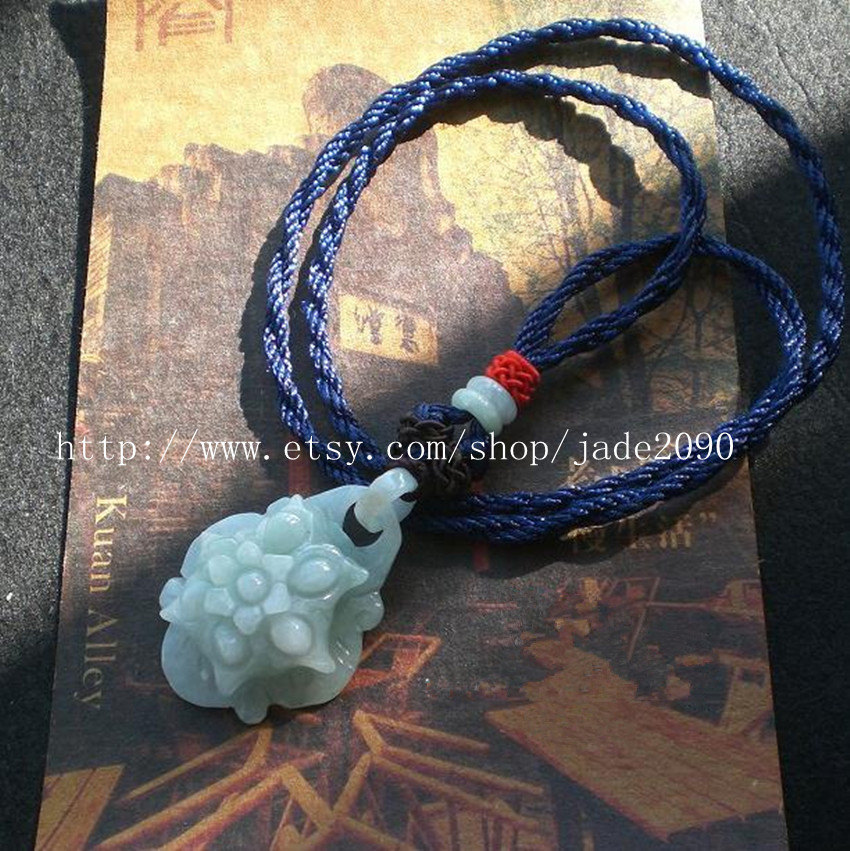 Primary image for Free shipping -  green jade luck Flower , natural jadeite jade luck Flower charm