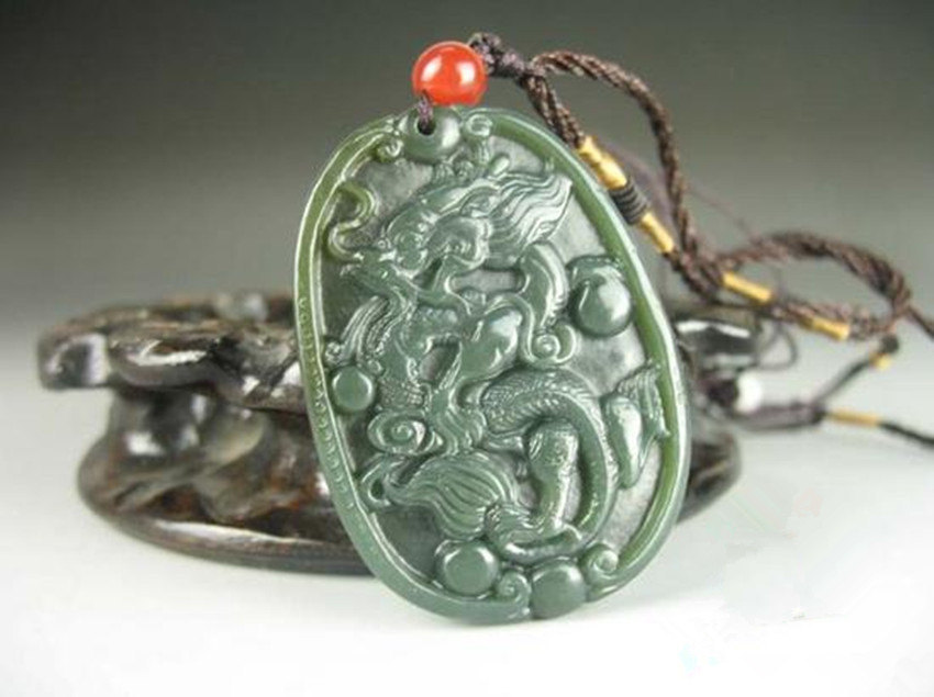 Primary image for Free Shipping - Amulet Natural green jade Dragon Natural Green jadeite jade Carv