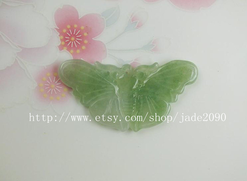 Primary image for Free Shipping - Lovely Hand-carved Natural Green Butterfly jade charm Pendant -