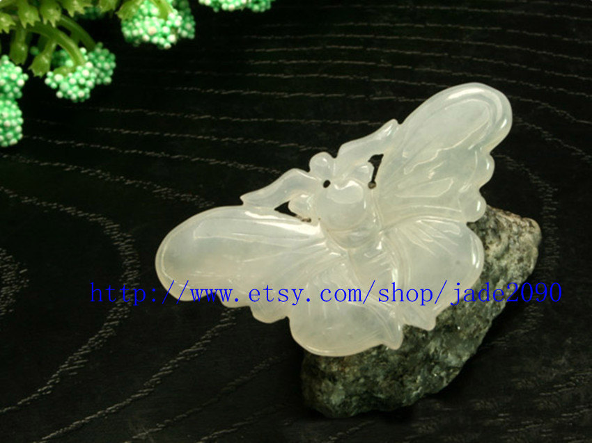 Primary image for Free Shipping - Hand-carved Natural white jade jadeite Butterfly jade charm Pend