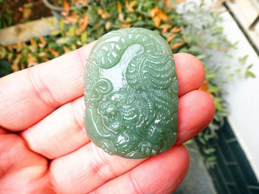 Primary image for Free Shipping -  real handmade Green jadeite jade carved Tiger pendants