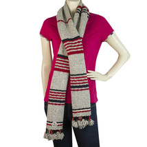 Moncler Gray Multicolored Striped Wool Long Scarf  Wrap Cache Col with t... - $197.01