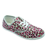 Womens Pink Leopard Cheetah Print Canvas Lace Sneakers Plimsoll Tennis S... - €13,14 EUR