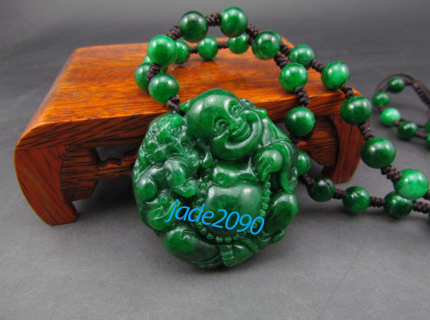 Primary image for FREE SHIPPING - Hand carved Real Natural green jade jadeite laughing buddha char