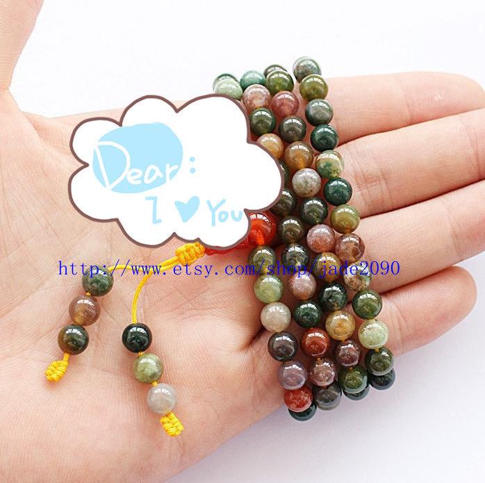 Free shipping - Tibetan Natural Bloodstone Meditation Yoga 108 prayer beads Pray - $25.99