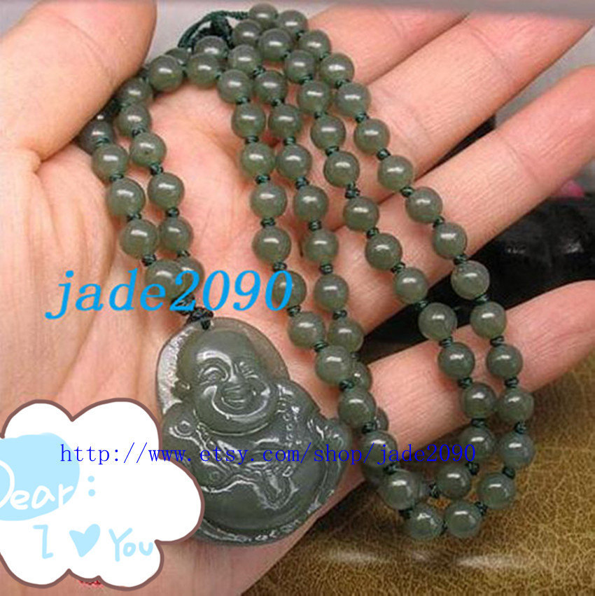 Primary image for Free Shipping - Tibetan Buddhism  AAA Grade Natural dark Green jade carved Laugh