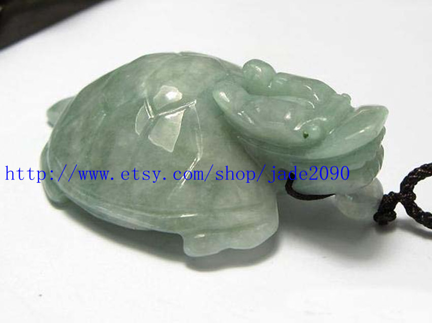 Primary image for Free shipping -  Natural Green jade carved Dragon Turtle  jadeite jade charm jad