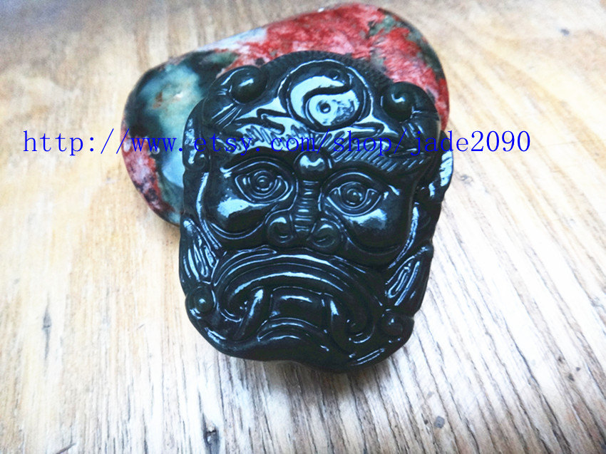 Primary image for Free shipping - good luck Hand carved  Monster Head dark green jade charm pendan