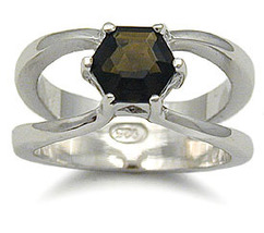 SMOKY QUARTZ CZ STERLING SILVER RING only size 5 left - $17.49