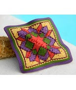 Quilt Block Quilter Brooch Pin Polymer Clay Jenny Patterson - $16.95