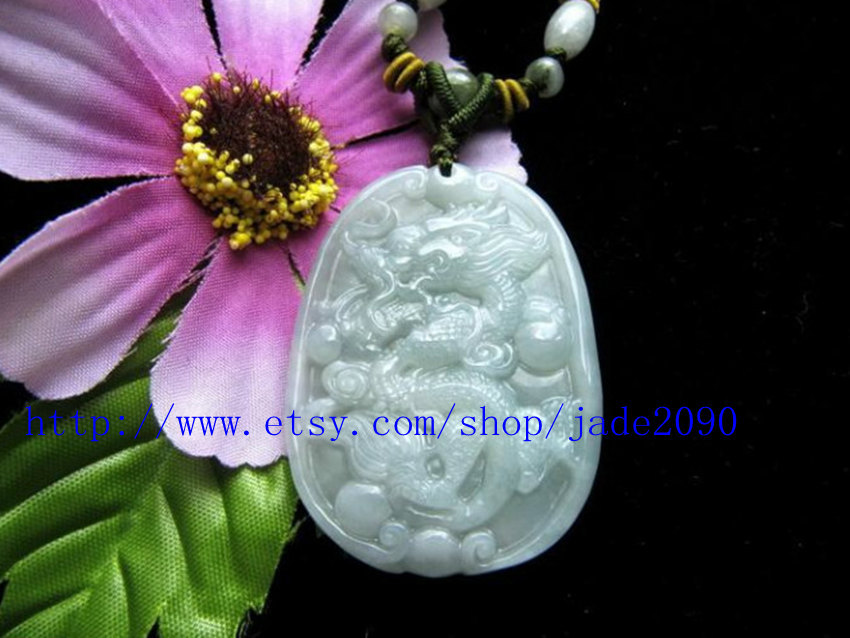 Primary image for Free Shipping - Hand-carved  Natural light green  jadeite jade Dragon Charm jade