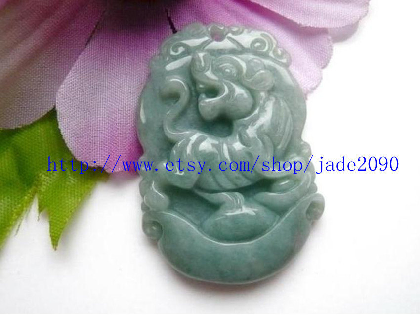 Primary image for Free Shipping - Hand carved Natural Green jadeite jade carved Tiger charm jade p