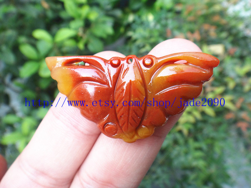 Primary image for Free Shipping - Lovely Hand-carved Natural Yellow Butterfly jade charm Pendant -