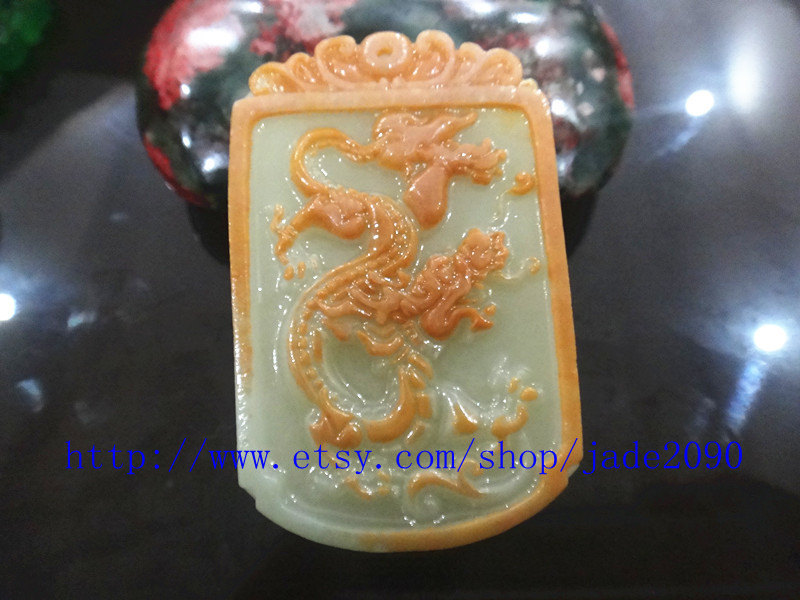 Primary image for Free Shipping -   jade dragon  Hand- carved Natural yellow jadeite jade dragon