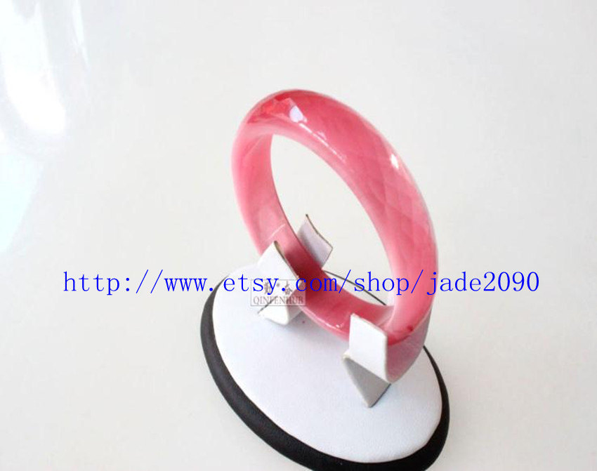 Primary image for Free shipping - Natural pink tiger eye stone charm bangle ( custom size Diameter