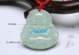 Free shipping -  Natural white jade jadeite carved  Laughing Buddha char... - $19.99