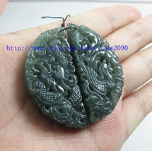 Free Shipping - Natural green dragon and Phoenix  jade charm Pendant / n... - $19.99