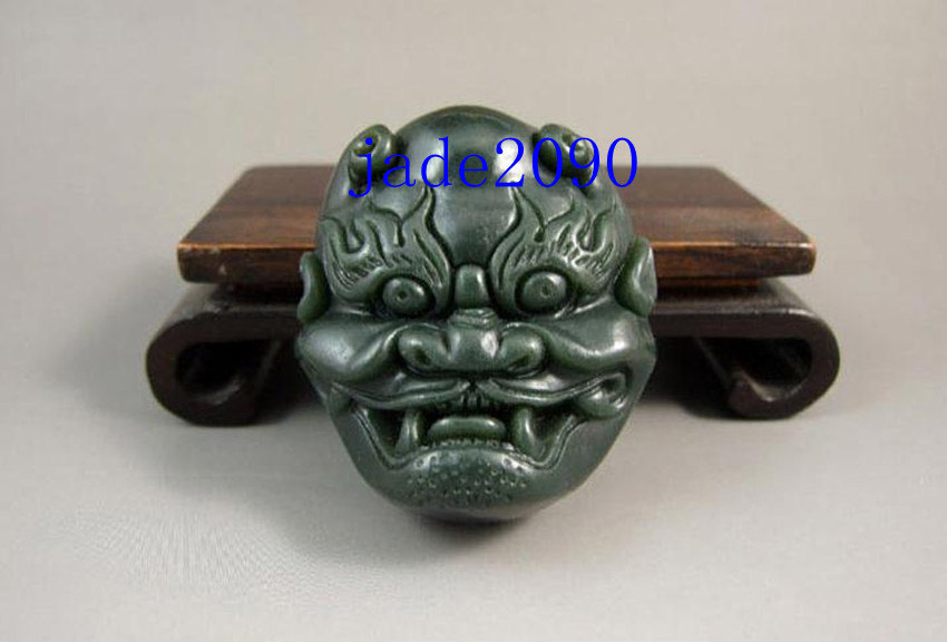 Primary image for Free Shipping -  Natural Green jade , Hand- carved Natural green Ghost Head  jad