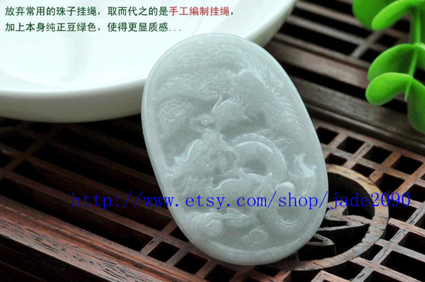 Primary image for Free Shipping - good luck Natural  Dragon Phoenix white jade Pendant  charm - ja