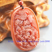 Free Shipping - Amulet Natural Red jade Dragon Phoenix charm jade Pendan... - $19.99