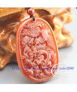 Free Shipping - Amulet Natural Red jade Dragon Phoenix charm jade Pendan... - $19.99