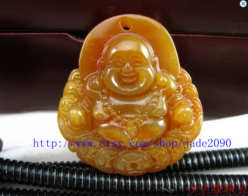 Primary image for Free shipping - jade buddha ,  Natural Yellow  jade jadeite Laughing Buddha budd