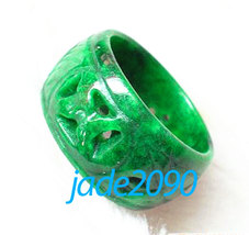 FREE SHIPPING -  Real Natural green jadeite jade charm Ring , Hand-carved  jadei - $19.99