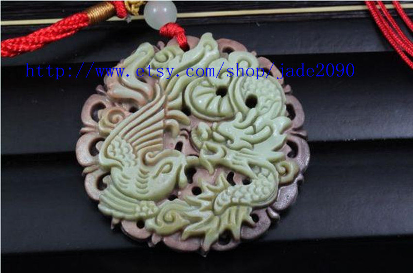 Primary image for Free Shipping -  yellow  jade dragon  phoenix  , yellow jade luck dragon  phoeni