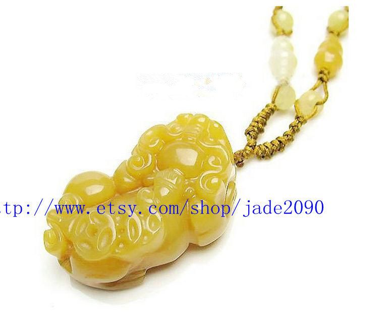 Primary image for Free Shipping - good luck  Natural yellow jade carved Pi Yao  Amulet charm Penda