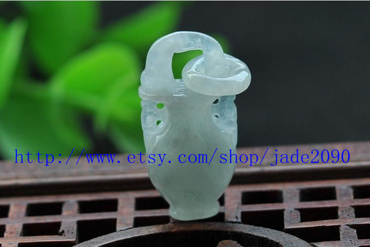 Primary image for Free Shipping -  jade Vase , HAND-CARVED Natural Green jadeite jade Vase charm P